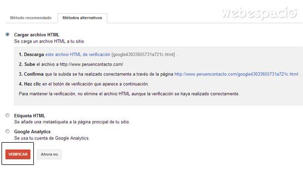 verificar sitio web con archivo html en google