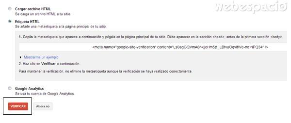 verificar el sitio web con metaetiqueta de google