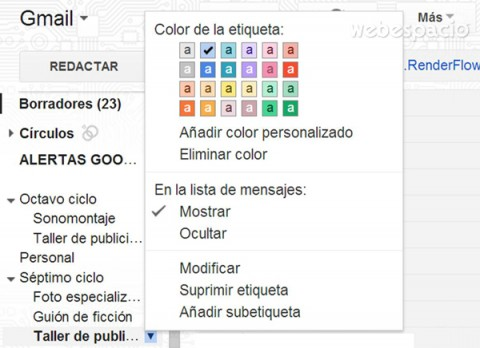 color en etiquetas gmail