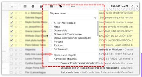 crear etiqueta para mensajes gmail