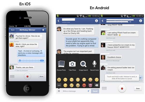 facebook messenger permite enviar mensajes voz