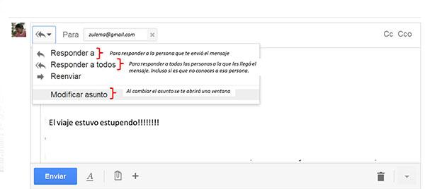 responder un mensaje en la nueva interfaz de gmail
