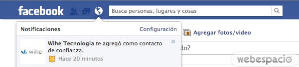 alerta contacto confianza facebook