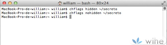 comando ocultar archivos mac