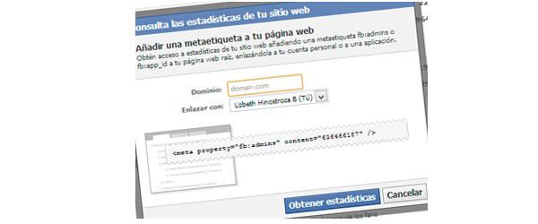 Enlazar sitio web  a cuenta de facebook