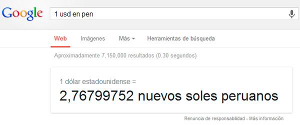 Convertidor de monedas en google