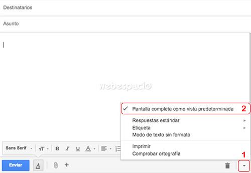 configurar pantalla completa gmail