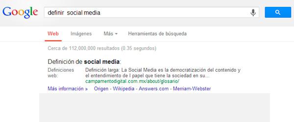 definir social media en google
