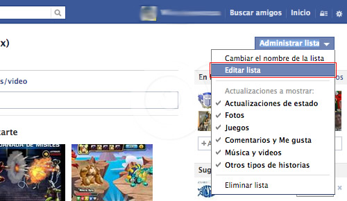 editar lista facebook
