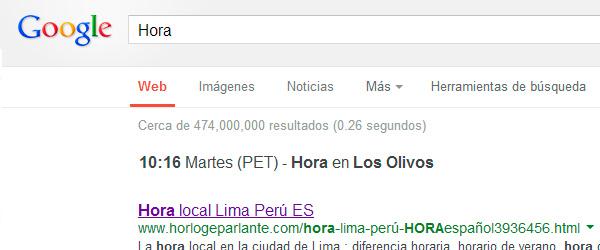 hora en google