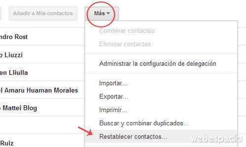 restablecer contactos de correo gmail