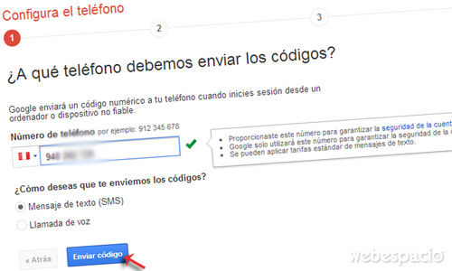 configurar telefono para verificar correo gmail en dos pasos