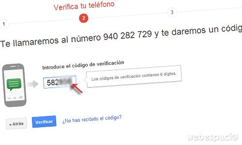 confirmar-telefono para verificar correo gmail en dos pasos