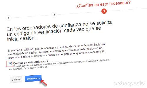 seleccionar ordenador confiable para verificar correo gmail en dos pasos
