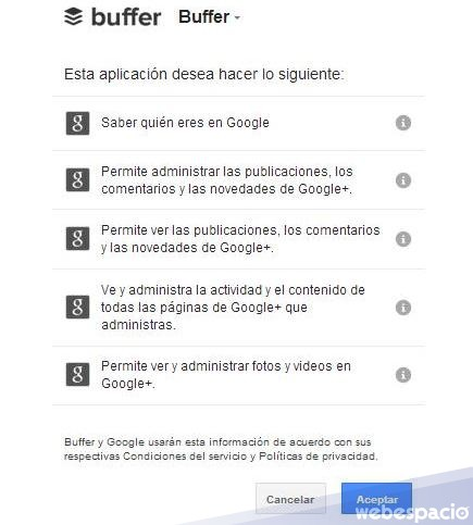 aceptar vinculacion google plus