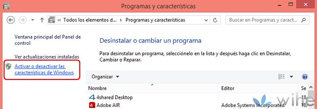 activar desactivar características windows 8