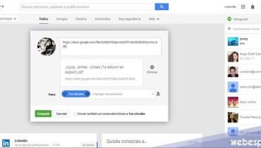 pegar url del documento en google plus