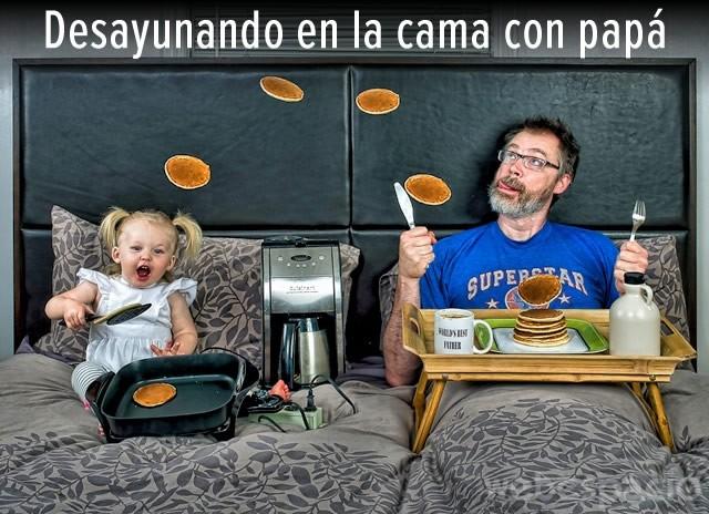 desayunando cama papa