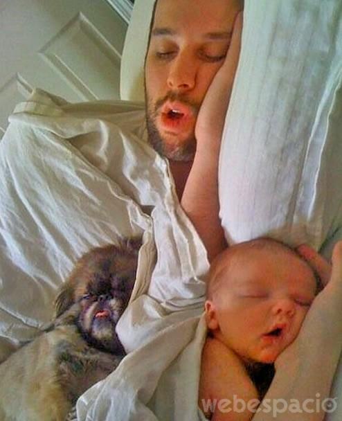 hijo padre mascota durmiendo