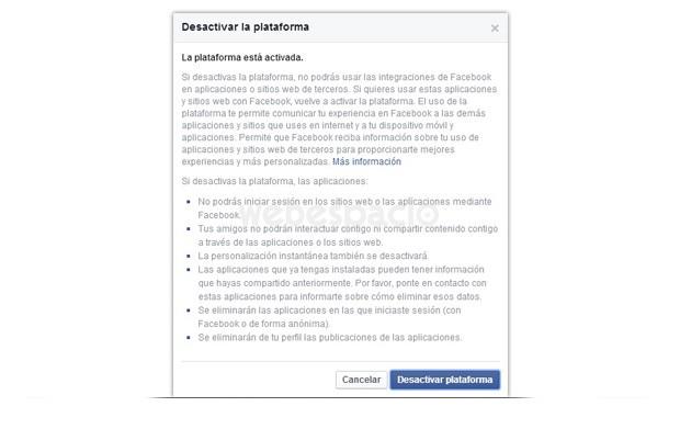 desactivar plataforma facebook