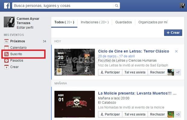 suscrito eventos facebook