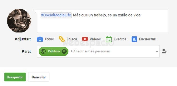 hashtag google plus