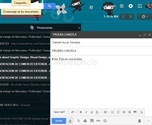 mensaje descartado gmail
