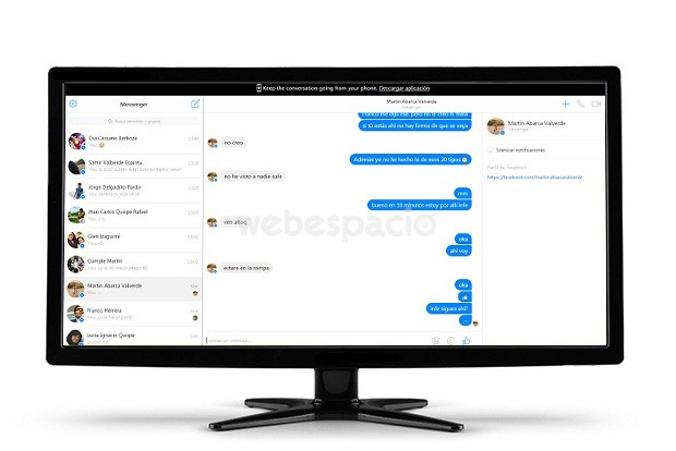 pantalla facebook messenger