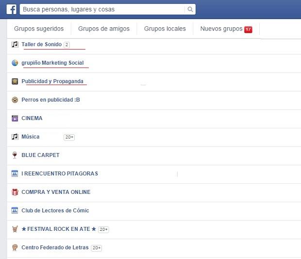 escoger grupos facebook