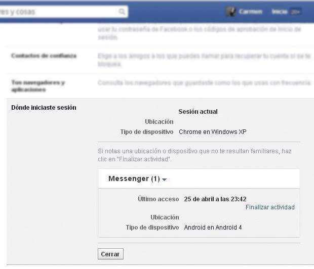 cerrar sesion facebook