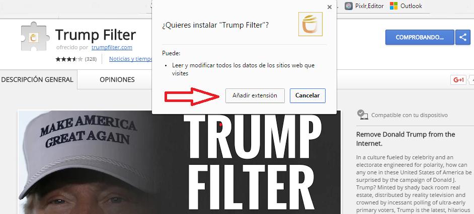 agregar trump filter
