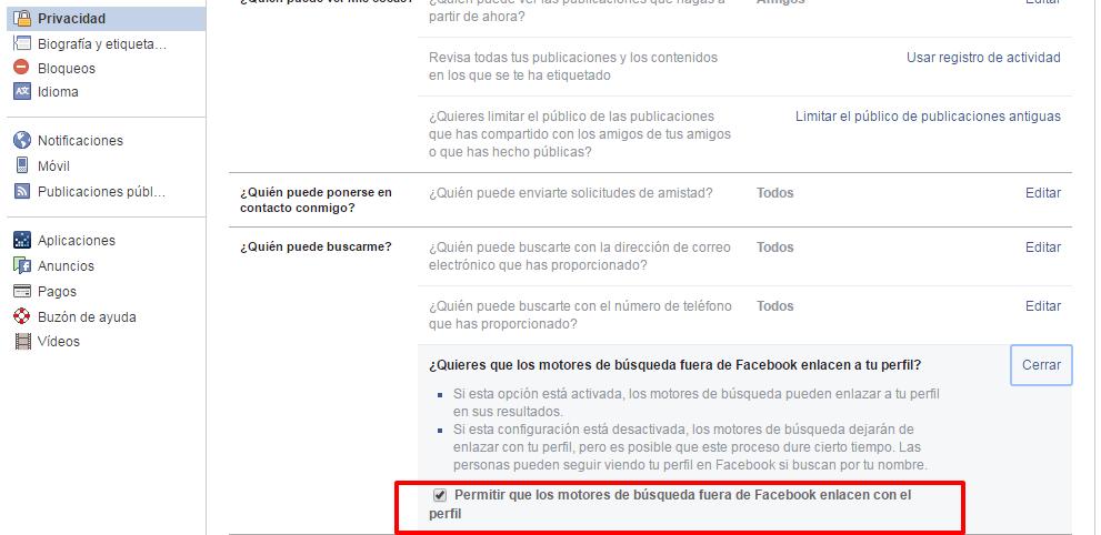 evitar enlazar perfil de facebook-buscadores